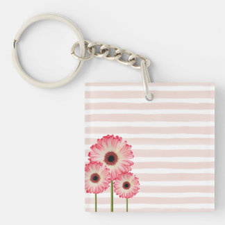 Pale Pale Pink Stripes and Bright Pink Flowers Keychain