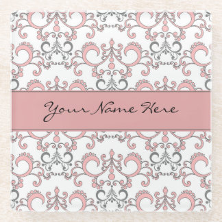 Pale Pastel Pink and Grey Arabesque on White Glass Coaster