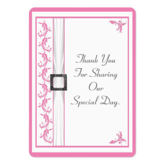 Pale pastel pink lace wedding thank you tag large business cards (Pack of 100)
