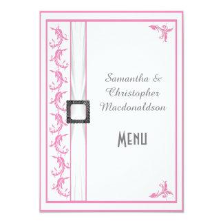 Pale pastel pink white lace wedding menu 5x7 paper invitation card