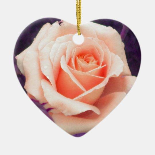 Pale Peach and Lavender Rose Ornament