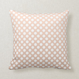 Pale Peach and White Polka Dots Pillow