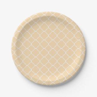 Pale Peach and White Quatrefoil Paper Plate