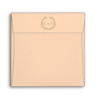 Pale Peach Angelskin Coral Pastel Wreath and Sprig Envelope