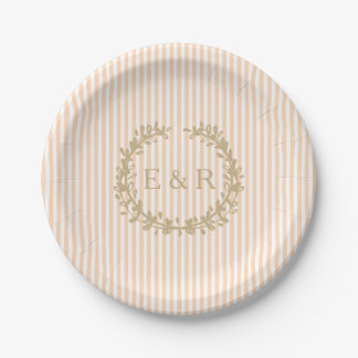Pale Peach Angelskin Coral Pastel Wreath and Sprig Paper Plate