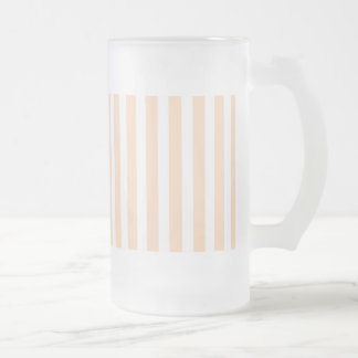 Pale Peach Angelskin Coral & White Stripe Frosted Glass Beer Mug
