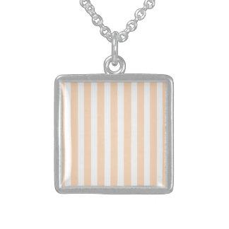 Pale Peach Angelskin Coral & White Stripe Square Pendant Necklace