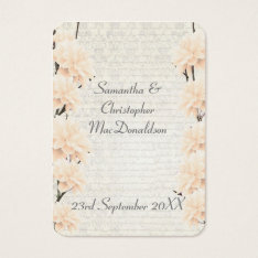 Pale Peach Floral Wedding Favor Thank You Tag at Zazzle