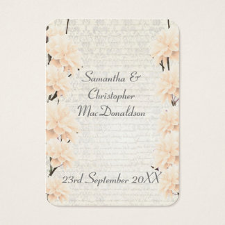Pale peach floral wedding favor thank you tag