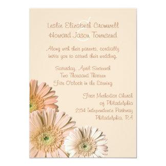 Pale Peach Gerber Daisy Custom Wedding Invitation