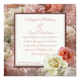 Pale Peach Pink And Cream White Rose Engagement Card