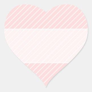 Pale Peach Pink Diagonal Stripes. Heart Sticker