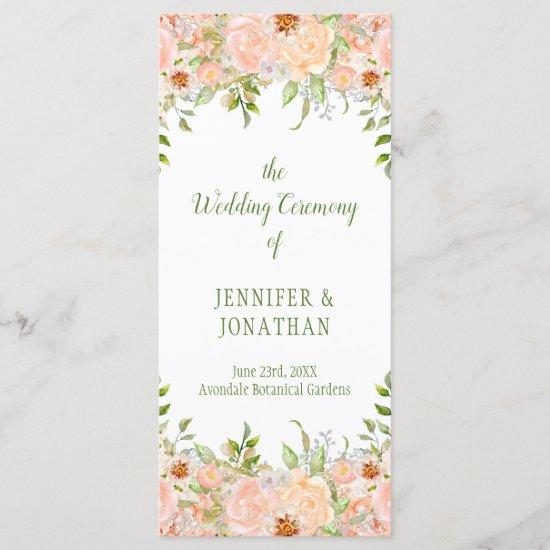 Pale Peach Roses and Greenery Wedding Program