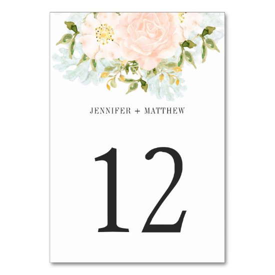 Pale Peach Watercolor Roses Greenery Table Number