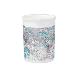 Pale Peacock Water Marbling Drink Pitcher