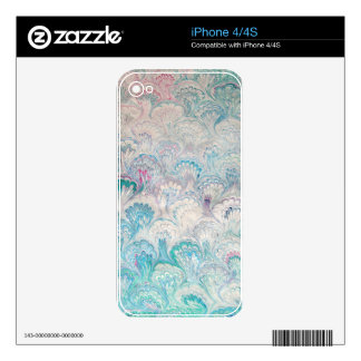 Pale Peacock Water Marbling Skin For The iPhone 4