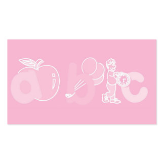 Pale Pink ABC Alphabet Logo for Girls Business Card Templates