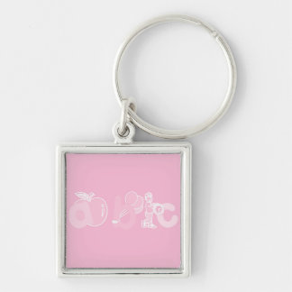Pale Pink ABC Alphabet Logo for Girls Keychain