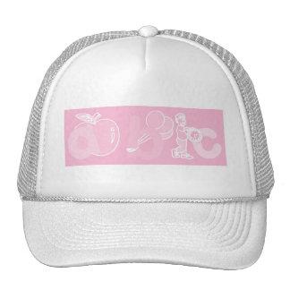 Pale Pink ABC Alphabet Logo for Girls Trucker Hat