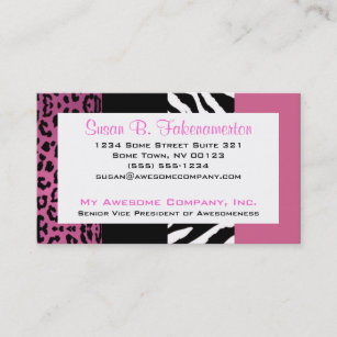 Animal print business cards templates zazzle pale pink and black animal print zebra and leopard business card colourmoves