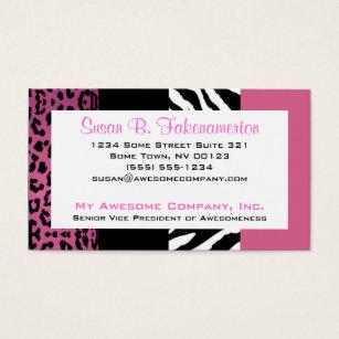 Zebra print business cards templates zazzle pale pink and black animal print zebra and leopard business card colourmoves