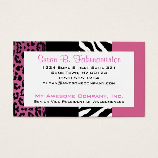 Pale Pink and Black Animal Print Zebra and Leopard Business Card
