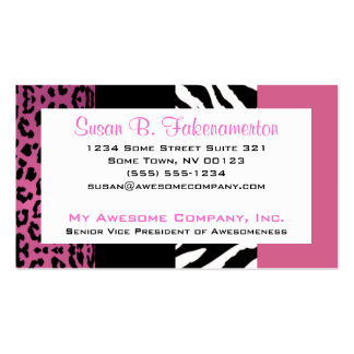 Pale Pink and Black Animal Print Zebra and Leopard Business Card Template