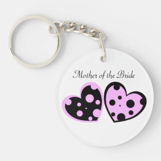 Pale Pink And Black Hearts Keychain