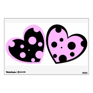 Pale Pink And Black Hearts Wall Decal