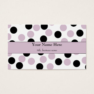 Pale Pink and Black Polka Dot Business Card