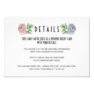 Pale pink and blue wedding details insert card