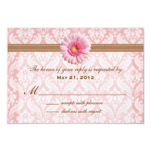 Pale Pink and Brown Daisy Wedding RSVP Card
