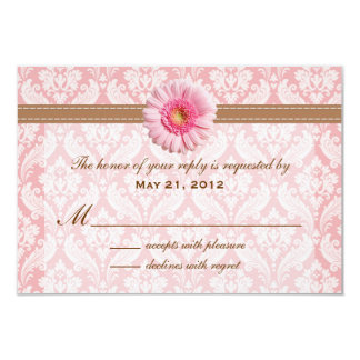 "Pale Pink and Brown Daisy Wedding RSVP 3.5"" X 5"" Invitation Card"