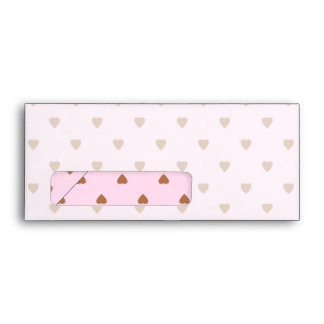 Pale pink and brown heart pattern. envelope