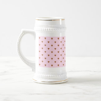 Pale pink and brown heart pattern. 18 oz beer stein
