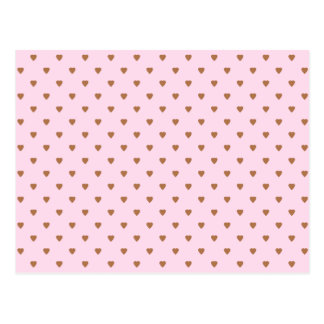 Pale pink and brown heart pattern. postcard