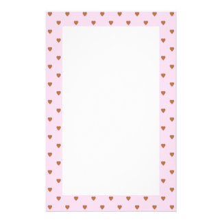 Pale pink and brown heart pattern. stationery