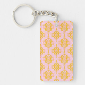 Pale Pink and Gold Damask Pattern Keychain