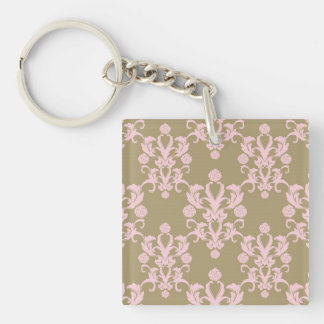 Pale Pink and Tan Damask Single-Sided Square Acrylic Keychain