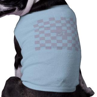 Pale Pink and White Checkered Monogram Dog Tshirt