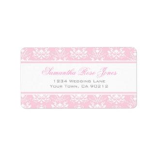 Pale Pink and White Damask Elegant Address Label