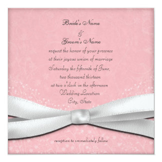 Pale Pink and White Floral Wedding Invitations