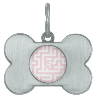 Pale Pink and White Maze Monogram Pet Tag