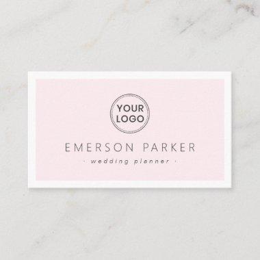 Pale pink and white modern minimalist add logo business card