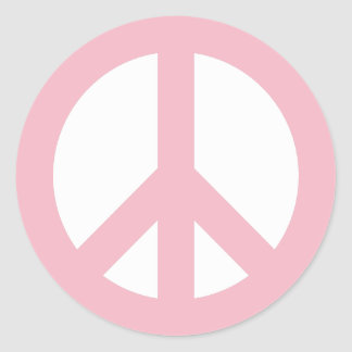 Pale Pink and White Peace Symbol Classic Round Sticker