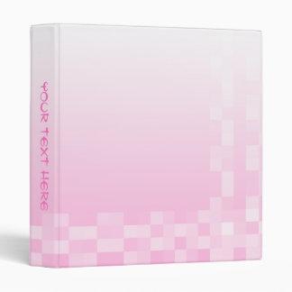 Pale Pink and White Squares Pattern. Binder