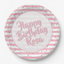 Pale Pink and White Stripes Happy Birthday Paper Plate
