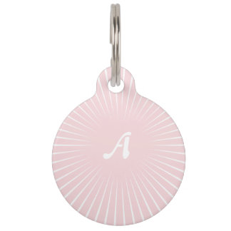 Pale Pink and White Sunrays Monogram Pet Tags
