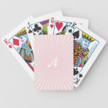 Pale Pink and White Sunrays Monogram Bicycle Playing Cards