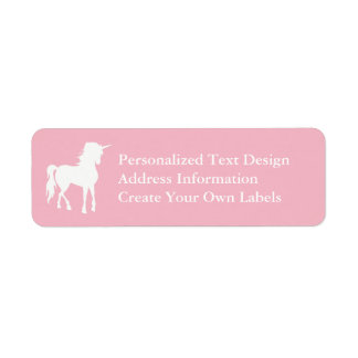 Pale Pink and White Unicorn Label